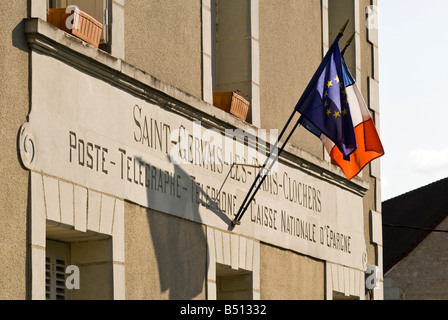 Old post office sign, St-Gervais-les-Trois-Clochers, Vienne, France. - Stock Photo