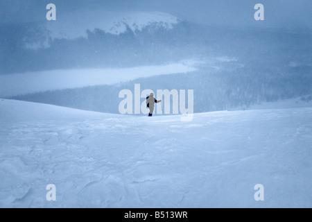 Young man skiing Saariselka Lapland Finland - Stock Photo