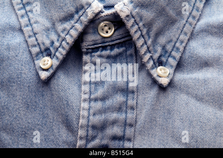 denim shirt old classic worn and frayed detail - Stock Photo