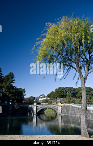 Japanese imperial palace outer garden moat - Stock Photo