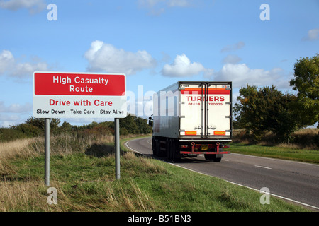 Sign warning motorists on the A1307 at Horseheath - an accident black spot between Cambridge and Haverhill in Suffolk - Stock Photo