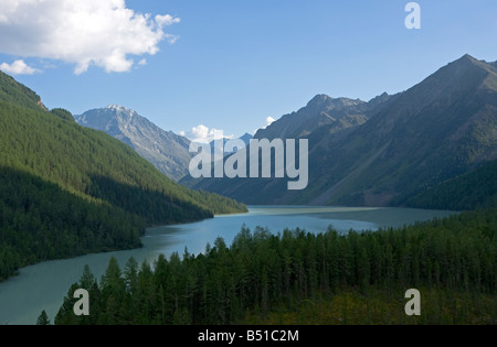 Panoramic view on Kucherlinskoe lake, Altai mountains, Siberia, Russia - Stock Photo