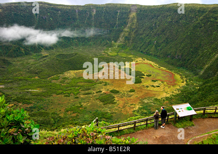 Volcano or Caldeira with viewpoint on Faial Island, Azores - Stock Photo