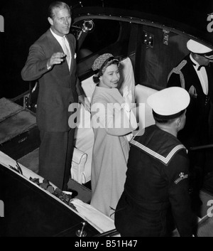The Queen and the Duke of Edinburgh wave  to the Danish Royal Family. May 1957 P000143