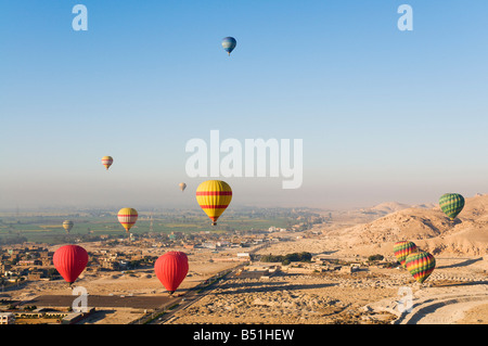 Hot Air Balloons, West Bank, Luxor, Egypt - Stock Photo
