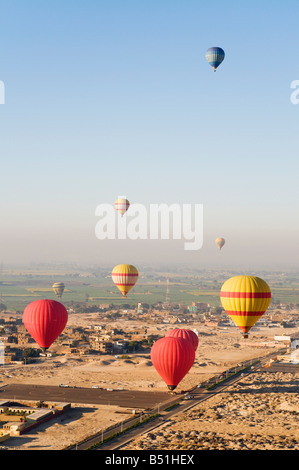 Hot Air Balloons, West Bank, Luxor, Egypt - Stock Photo