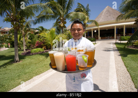 Portrait of Waiter with Tray of Drinks, Mexico - Stock Photo