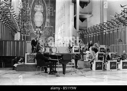 Duke Ellington and Orchestra February 1966 recorded a concert for ABC Television in Conventry Cathedral Duke rehearses - Stock Photo