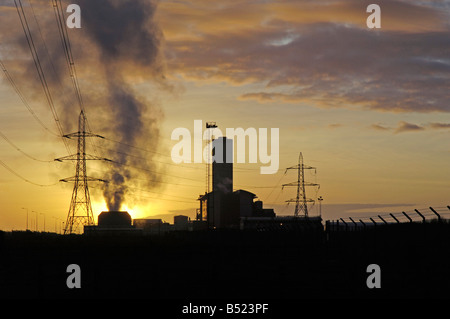 Briton Ferry Power Station at sunset Neath West Glamorgan - Stock Photo