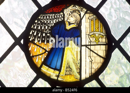 Medieval Stained Glass Roundel window April Showers St George Tombland Norwich School of 15th century glass costume - Stock Photo