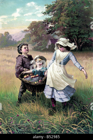 Brother and Sister carrying her little sister in the basket - Stock Photo