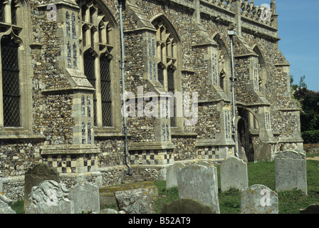Blythburgh, Suffolk, Holy Trinity church, built second half of C15, detail of wall of chancel. - Stock Photo