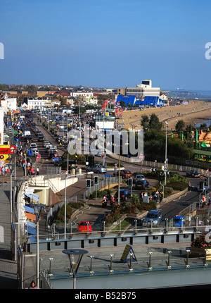 east facing - a view of Southend on Sea seafront from the pier terrace - Stock Photo