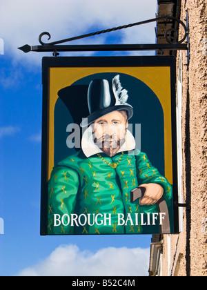 The Borough Bailiff traditional British Pub sign at Knaresborough, North Yorkshire, England, UK - Stock Photo