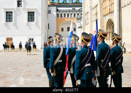 The Kremlin Regiment on Parade at Cathedral Square inside the Kremlin in Moscow, Russia - Stock Photo