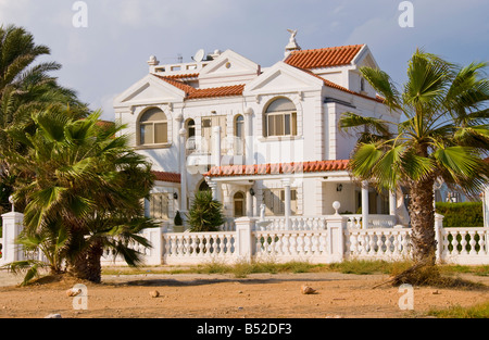 Large beach front detached villa in Ayia Napa on the Mediterranean island of Cyprus EU - Stock Photo