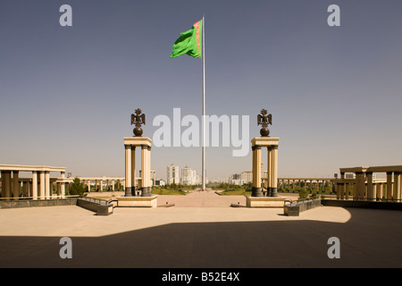 view from National Museum towards city, Ashgabat, Turkmenistan, showing the former world's tallest flagpole - Stock Photo