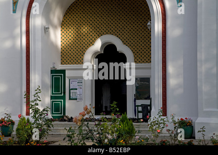 Shoes at Entrance to Shah Jahan Mosque Woking Surrey England - Stock Photo