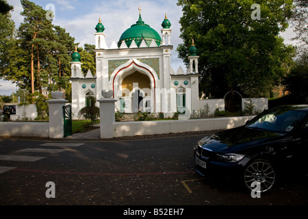BMW parked outside Shah Jahan Mosque Woking Surrey England - Stock Photo