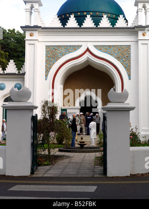 The Shah Jahan Mosque at Woking Surrey the first purpose built mosque in Britain 1889 Men Leaving Mosque After Prayers - Stock Photo