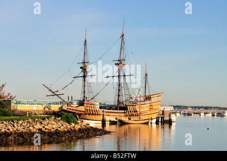 The ship Mayflower II docked in historic Plymouth Harbor, MA - Stock Photo