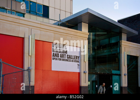 Entrance to Museum and Art Gallery John Frost Square Newport South Wales - Stock Photo