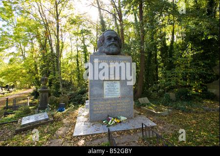 Karl Marx grave Highgate Cemetery Highgate N6 London United Kingdom - Stock Photo