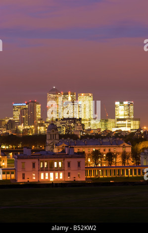 View of Queens House Old Royal Naval College and Docklands from Greenwich Hill London United Kingdom - Stock Photo