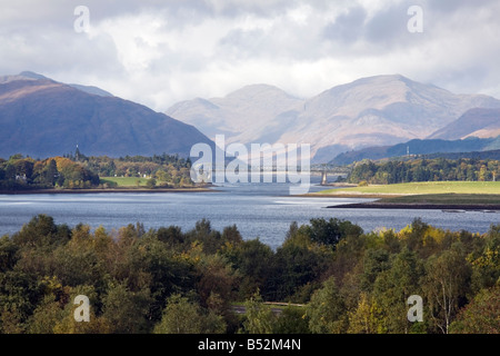 Ballachulish Bridge crosses the narrows at the end of Loch Leven in Western Scotland - Stock Photo