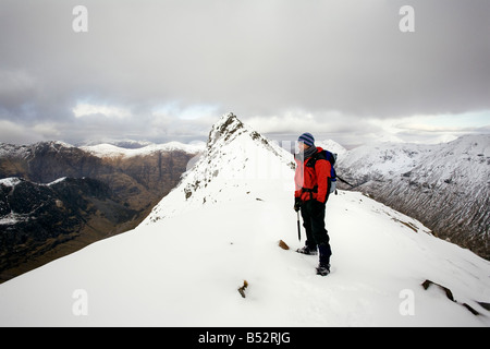 Scotland winter mountain peaks summit Glencoe - Stock Photo