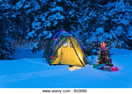 Decorated Camp Tent And Small Christmas Tree With Packages Outside  - Camp Christmas Tree