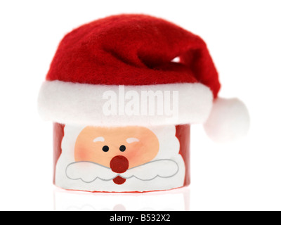 Authentic Novelty Colourful Christmas Santa Chocolate Gift Box, Isolated Against White Background, With Clipping - Stock Photo