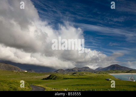 Storm cloud over Timsgarry with view to Uig bay, Isle of Lewis, Outer Hebrides, Scotland - Stock Photo