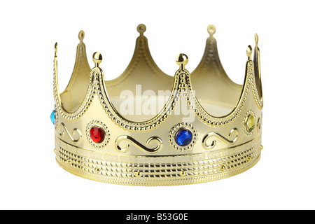 Golden crown cutout isolated on white background - Stock Photo