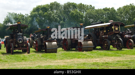 A gathering of steam traction engines and road rollers on display at Bloxham Vintage Vehicle and Country show. UK - Stock Photo