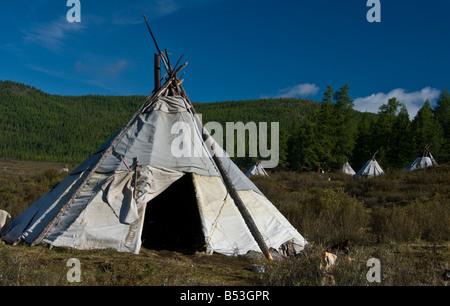 Tsaatan Tepee encampment Northern Mongolia - Stock Photo