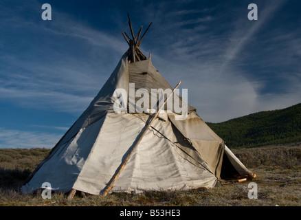 Tsaatan Tepee encampment Northern Mongolia August 2008 - Stock Photo