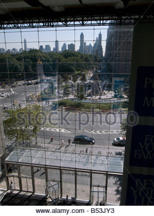 Columbus Circle seen from inside Time Warner Building interior in in Manhattan New York - Stock Photo