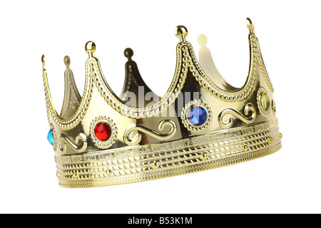 Kings crown cutout isolated on white background - Stock Photo