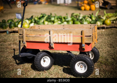 Wagon used for gathering pumpkins and gourds at a pumpkin patch in Arkansas. - Stock Photo