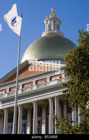 Massachusetts Statehouse designed by Charles Bullfinch copper clad gold gilt dome Boston Massachusetts - Stock Photo