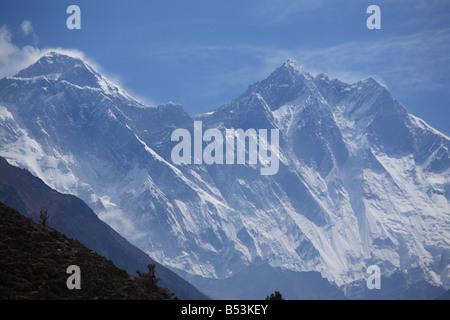 Views of Mt Everest and Lhotse, Nepal - Stock Photo