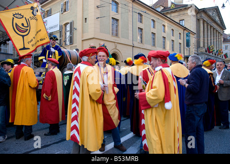 Members of the wine producers association participate in the opening cermony of the fete des Vendanges, Neuchatel, - Stock Photo