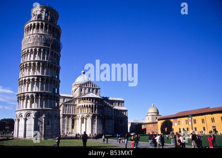 The Leaning Tower and the Cathedral, Piazza dei Miracoli, Pisa, Tuscany, Italy - Stock Photo