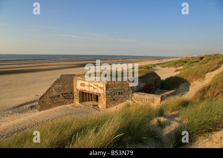 A German concrete bunker, part of Hitlers Atlantic Wall, at Dunkerque (Dunkirk), northern France. - Stock Photo