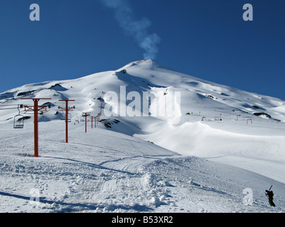 View of the villarica volcano in Chile, near the town of Pucon - Stock Photo