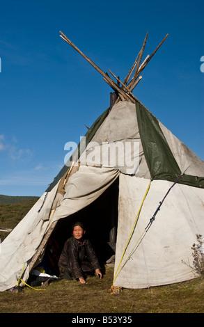 Tsaatan Woman indide the tepee Northern Mongolia - Stock Photo