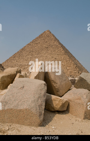 The Pyramid of Menkaure in Giza plateau Cairo, Egypt - Stock Photo