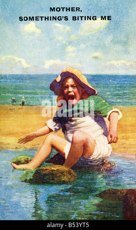 Old vintage seaside picture postcard  EDITORIAL USE ONLY - Stock Photo
