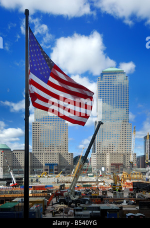Rebuilding the World Trade Center with construction of New York's new 1776 feet Freedom Tower at the site of the - Stock Photo